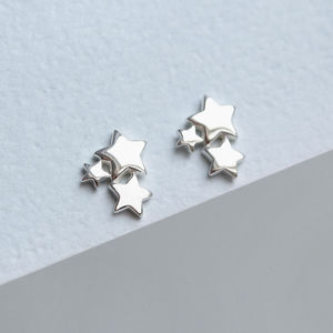 Sterling Silver Three Star Stud Earrings