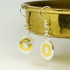 Personalised Textured Silver Hook Earrings With Gold