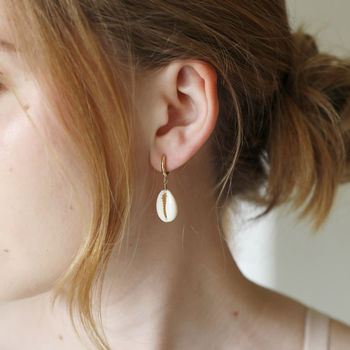 Gold Shell Huggie Hoop Earrings