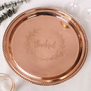 Luxury Thankful Etched Copper Lazy Susan Barware Tray