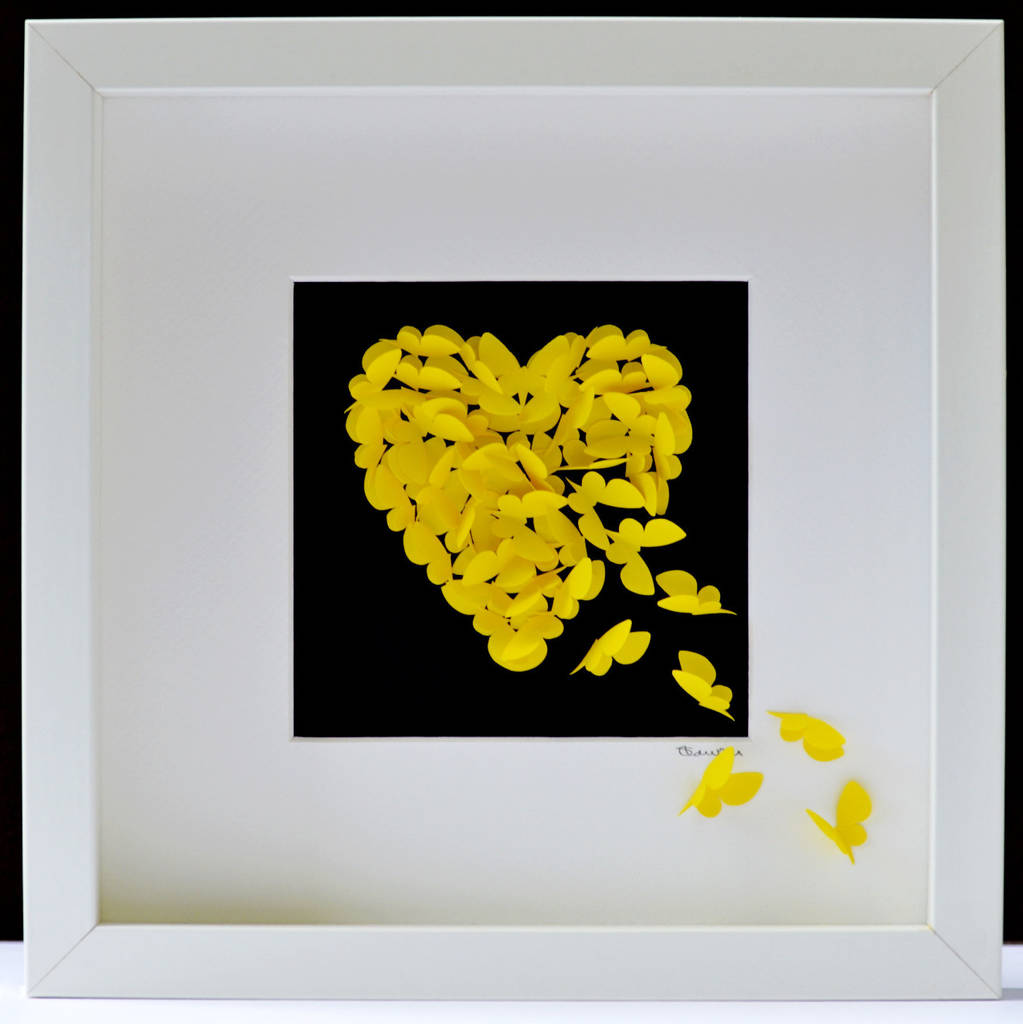 radiance yellow butterfly heart wall art by inkywool butterfly art ...