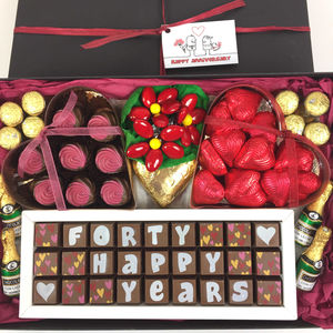 Large Personalised Chocolate Ruby Wedding Gift Box - chocolates & confectionery
