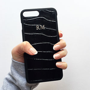 Black Croc Effect Leather Monogram Phone Case - womens