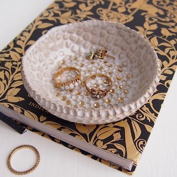 Handmade White Ceramic Ring Dish With Gold Dots
