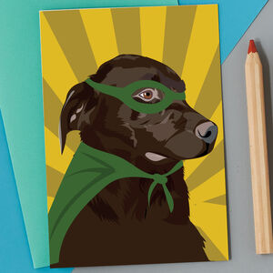Chocolate Labrador Superhero Card