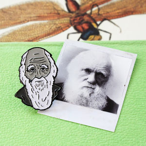 Charles Darwin Enamel Pin - pins & brooches