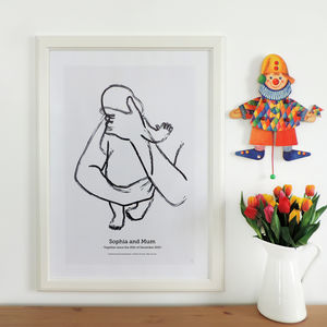 'The Hug' Personalised To Scale New Baby Print - dates & special occasions