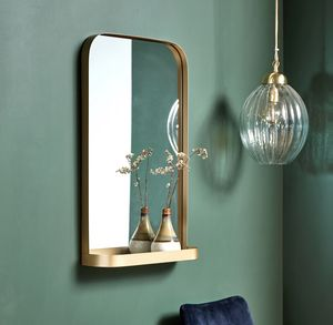 Brass Framed Rectangle Wall Mirror With Shelve - storage & organisers