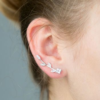 Crystal And Silver Ear Pins