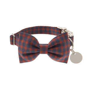 Navy Blue And Red Check Bow Tie Dog Collar - dog collars