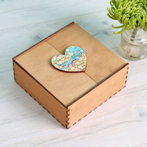 Map Location Heart Jewellery Box Birthday Gift - storage & organisers