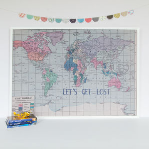 'Lets Get Lost' Embroidered World Map Noticeboard