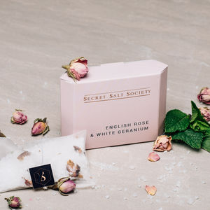 English Rose And White Geranium Mineral Bath Infusion - stocking fillers for her