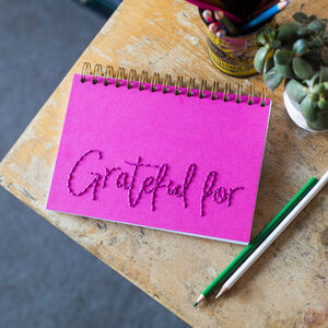 'Grateful For' Embroidered Journal