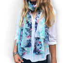 Personalised Turquoise Summer Floral Soft Tassel Scarf