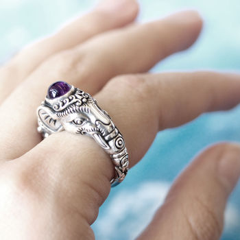 Indian Elephant Gemstone Sterling Silver Ring