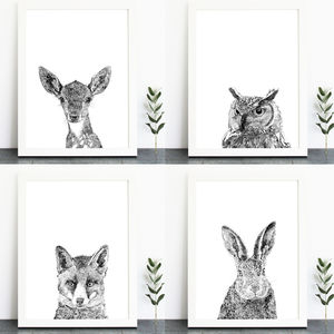 A Set Of Four Woodland Animal Portrait Art Prints