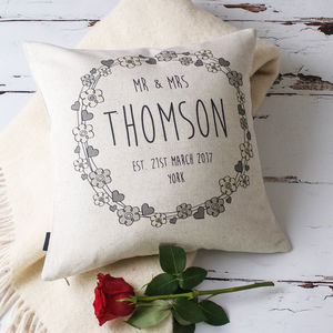 'Hearts And Flowers' Mr And Mrs Wedding Cushion Cover - wedding gifts sale