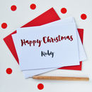 Personalised Happy Christmas Glitter Cut Out Card