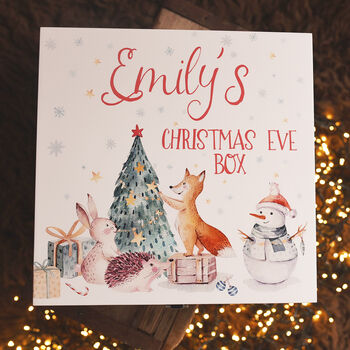 Personalised Winter Animals Wooden Christmas Eve Box