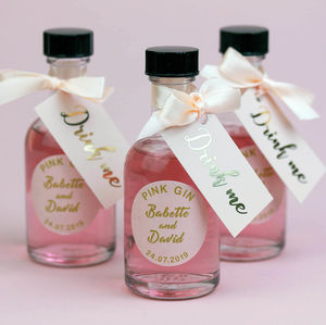 Personalised Pink Gin Wedding Favours In Blush And Gold - wedding favours