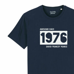 Personalised Birth Year And Nickname Organic T Shirt