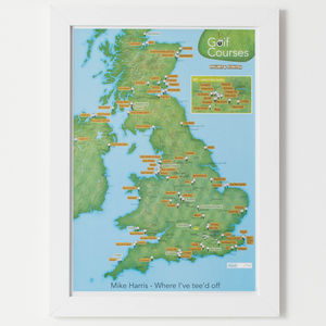 Personalised Scratch Off UK Golf Courses Print - maps & locations