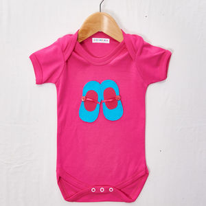 Blue And Pink Shoes Babygrow - clothing