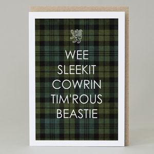 'Wee Sleekit Cowrin Tim'rous Beastie' Card