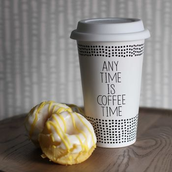 **Porcelain 'Any Time Is Coffee Time' Thermo Mug