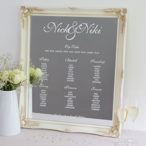 Personalised Wedding Table Plan - new in wedding styling