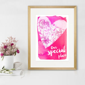 Personalised Heart Map Print
