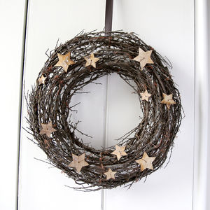 Frosted Natural Wreath With Stars - wreaths
