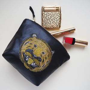 Embroidered Metallic Leather Tiger Make Up Bag - bags & purses