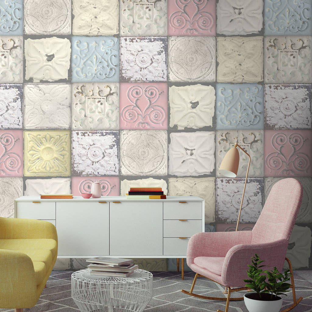 Pastel tin tile by woodchip and magnolia by woodchip magnolia - American tin tiles wallpaper ...