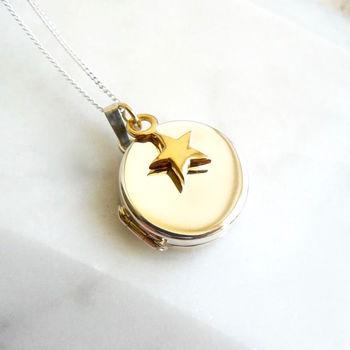 Round Silver Locket With Gold Star Necklace