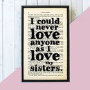 'As I Love My Sisters' Little Women Quote Book Page Print