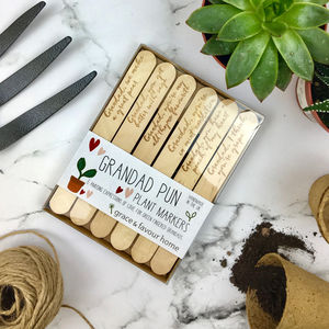 Personalised Funny Plant Marker Set For Grandad