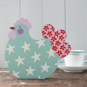 Personalised Country Cottage Chicken Decoration - easter decorations