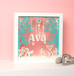 Framed Personalised Newborn Christening Papercut Gift
