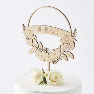 Personalised Flower Wreath Cake Topper - rustic wedding