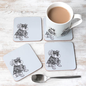 'Hamish' Coasters And Mug Set With Schnauzer Dog - tableware
