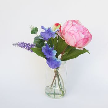 Silk Posy Of Peony And Lavender In Jam