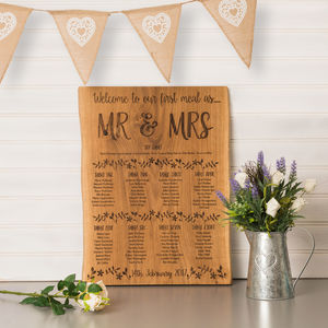 Personalised Flower And Foliage Oak Table Plan - wedding stationery
