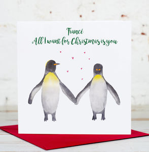Fiancé Fiancée Penguins Couple Christmas Card