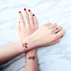 Burgundy Garden Chain Bracelet Temporary Tattoo - temporary tattoos