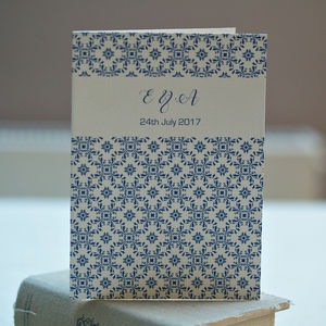 Moroccan Style Blue Mosaic Folded Wedding Invitations - invitations