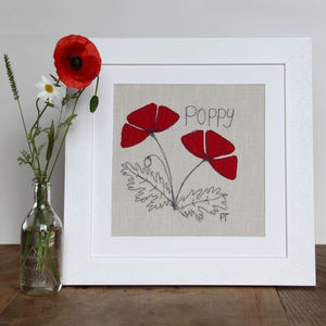 Poppy Embroidered Picture