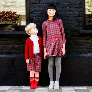 Girls Ruby Tartan Dress - new in christmas