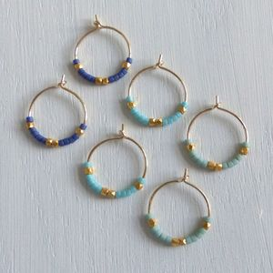 Petite Fair Trade And Ocean Inspired Bead Hoop Earrings